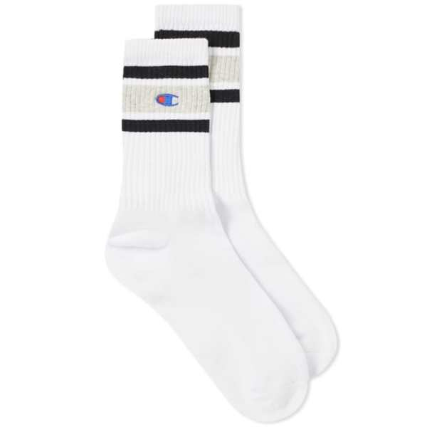 CHAMPION REVERSE WEAVE COLOUR BLOCK SOCK white