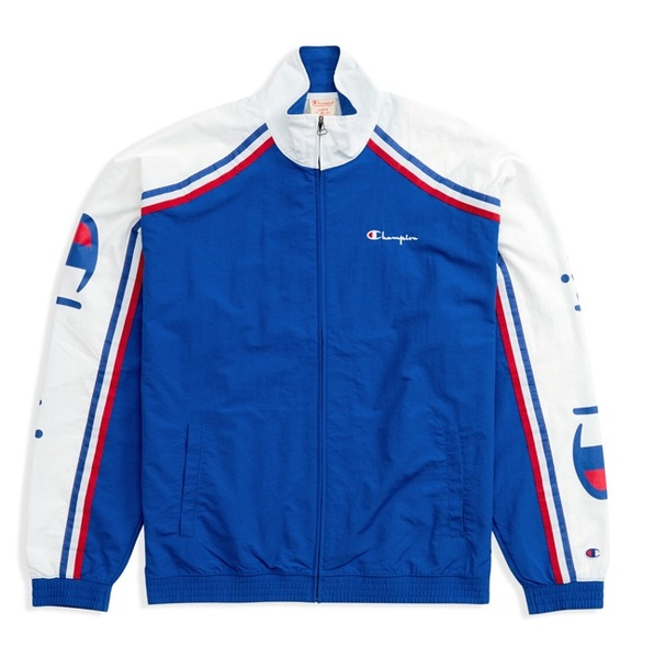 CHAMPION REVERSE WEAVE CORPORATE SCRIPT ARM ZIP TRACK TOP white/blue