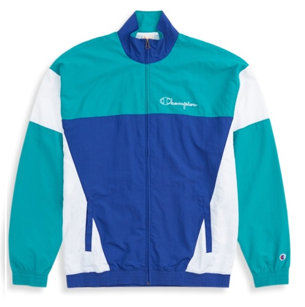 CHAMPION REVERSE WEAVE COLOUR BLOCK TRACK TOP ROYAL BLUE/PALE GREEN