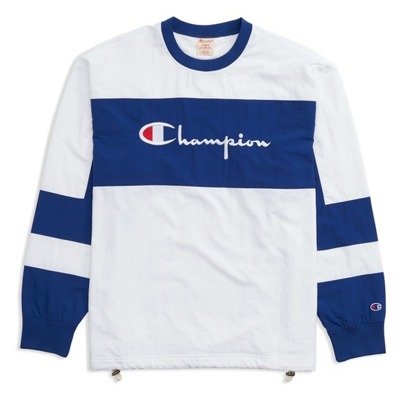 Champion Reverse Wave Crewneck Tech Pullover White/Royal Blue