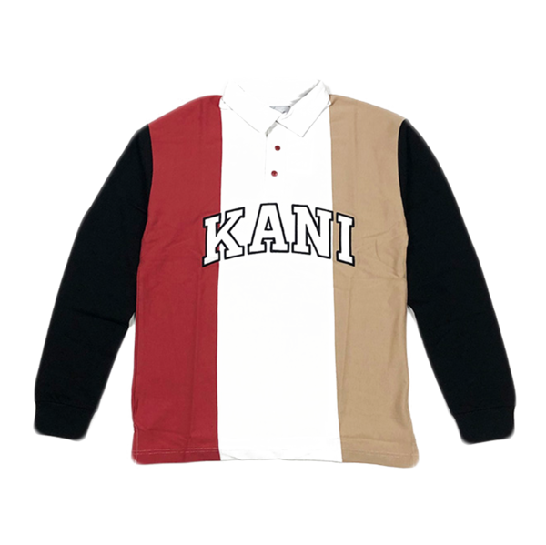 College Block Rugby Shirt White / Black / Red / Camel