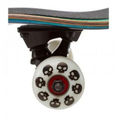 """Single Skull Complete Skateboard 8.0"""" Black/White"""