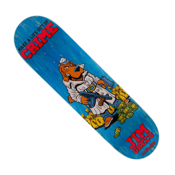 "Jim Greco Mascot Mayhem Skateboard Deck 8.25"" Blue Stain"